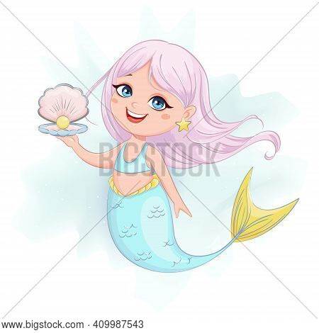 Stock Vector Cute Little Mermaid Girl. Mermaid Cartoon Character.