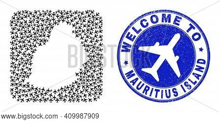 Vector Mosaic Mauritius Island Map Of Sky Jet Items And Grunge Welcome Seal. Mosaic Geographic Mauri