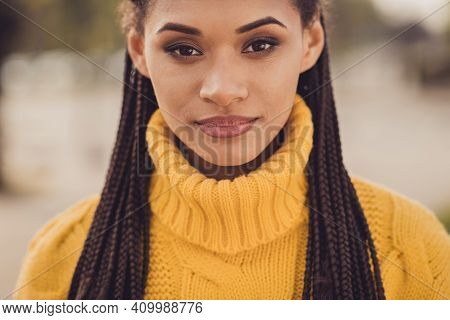 Portrait Of Young Serious Charming Lovely Sweet Dark Skin Woman Looking Camera Wear Yellow Knitted S