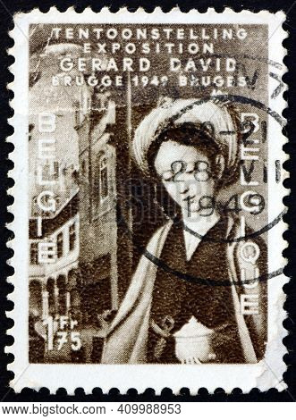 Belgium - Circa 1949: A Stamp Printed In Belgium Shows St. Mary Magdalene, Detail From Painting By G
