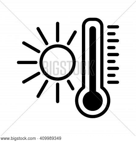 Thermometer With Sun Line Icon Isolated On The White Background.