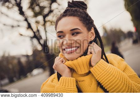 Portrait Of Young Happy Positive Good Looking Charming Afro Woman Look Copyspace Outside On Street