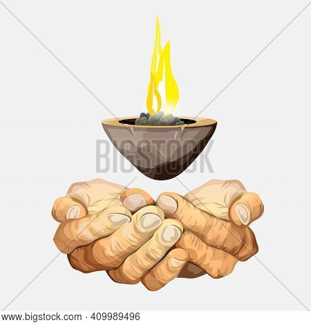 Hands Or Palms Folded Together. Magic Candlestick Hanging In The Air. Beautiful Sacral Candle Flame.