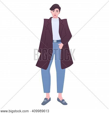 Tomboy-like Lady Wears Trendy Outfit. Woman In Modern Fashion Outfit. Masculine Girl In Coat, Jumper