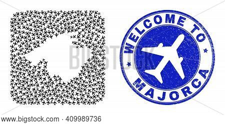 Vector Collage Majorca Map Of Air Vehicle Items And Grunge Welcome Seal Stamp. Mosaic Geographic Maj