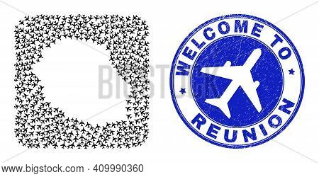 Vector Collage Reunion Island Map Of Trip Items And Grunge Welcome Seal Stamp. Collage Geographic Re