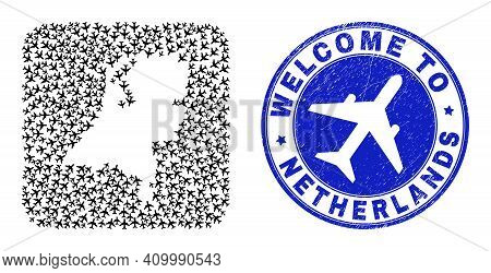 Vector Collage Netherlands Map Of Aero Items And Grunge Welcome Stamp. Collage Geographic Netherland