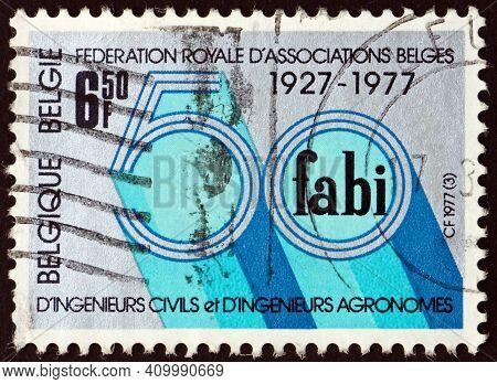 Belgium - Circa 1977: A Stamp Printed In Belgium Dedicated To Royal Belgian Association Of Civil And