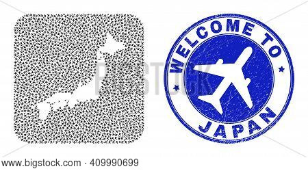 Vector Mosaic Japan Map Of Airlines Items And Grunge Welcome Seal. Mosaic Geographic Japan Map Desig