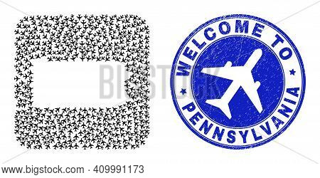 Vector Mosaic Pennsylvania State Map Of Items And Grunge Welcome Seal Stamp. Mosaic Geographic Penns