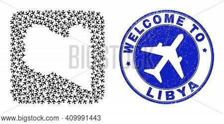 Vector Collage Libya Map Of Airplane Elements And Grunge Welcome Seal. Collage Geographic Libya Map