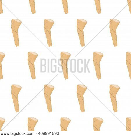 Seamless Pattern With Horseradish Root. Vector Nature Graphic Background. Natural Textile.