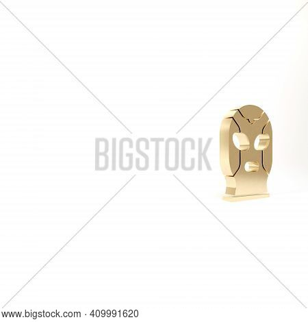 Gold Mexican Wrestler Icon Isolated On White Background. 3d Illustration 3d Render
