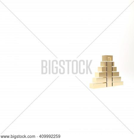 Gold Chichen Itza In Mayan Icon Isolated On White Background. Ancient Mayan Pyramid. Famous Monument