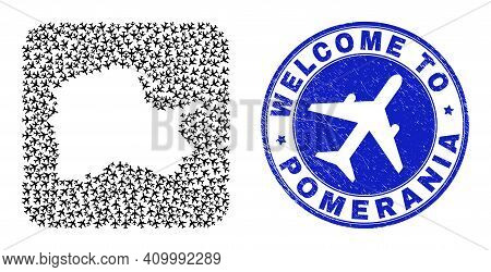 Vector Collage Pomeranian Voivodeship Map Of Aviation Items And Grunge Welcome Seal. Collage Geograp