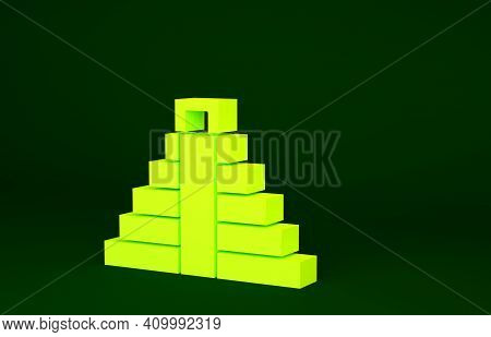 Yellow Chichen Itza In Mayan Icon Isolated On Green Background. Ancient Mayan Pyramid. Famous Monume