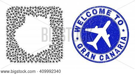 Vector Collage Gran Canaria Map Of Aeroplane Elements And Grunge Welcome Seal. Collage Geographic Gr