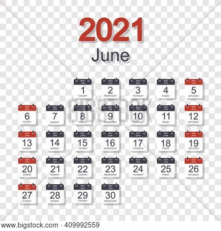 Monthly Calendar Template For June 2021 With Daily Date. On Transparent Background. Week Starts On S
