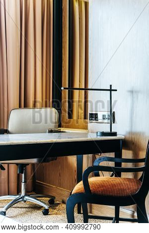 Image Of Luxurious Bedroom Detail, Furniture, Lamp And Accessories.