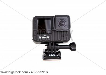 Moscow, Russia - Novemner 11, 2020: New Flagship Action Camera Gopro Hero 9 Black. Front View, Isola
