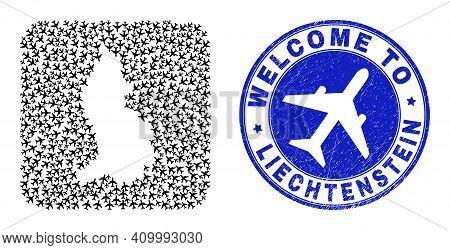 Vector Collage Liechtenstein Map Of Jorney Items And Grunge Welcome Stamp. Collage Geographic Liecht