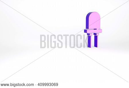 Purple Light Emitting Diode Icon Isolated On White Background. Semiconductor Diode Electrical Compon