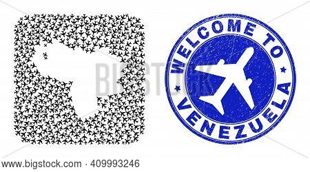 Vector Mosaic Venezuela Map Of Aircraft Items And Grunge Welcome Seal. Collage Geographic Venezuela