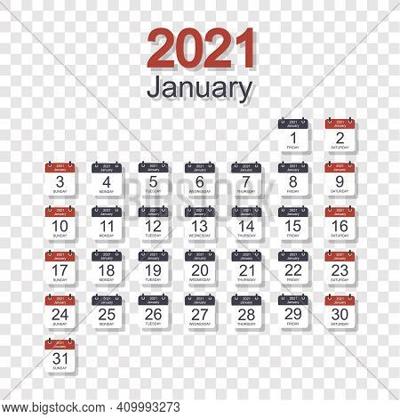 Monthly Calendar Template For January 2021 With Daily Date. On Transparent Background. Week Starts O