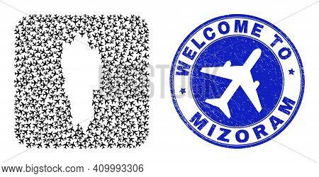 Vector Collage Mizoram State Map Of Aeroplane Elements And Grunge Welcome Stamp. Collage Geographic