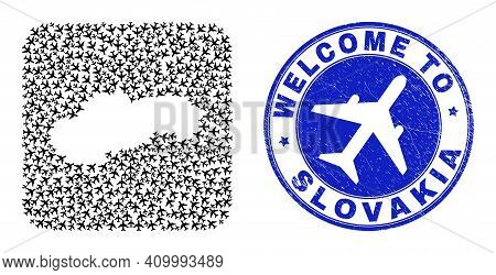 Vector Mosaic Slovakia Map Of Air Plane Items And Grunge Welcome Badge. Mosaic Geographic Slovakia M