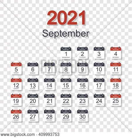 Monthly Calendar Template For September 2021 With Daily Date. On Transparent Background. Week Starts