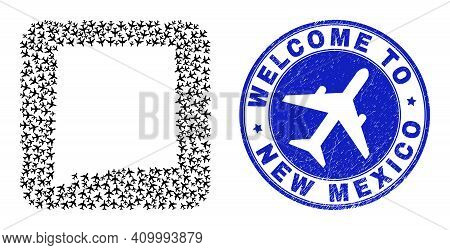 Vector Collage New Mexico State Map Of Transportation Items And Grunge Welcome Badge. Collage Geogra