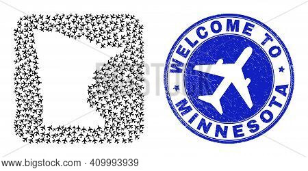 Vector Mosaic Minnesota State Map Of Air Vehicle Elements And Grunge Welcome Stamp. Mosaic Geographi