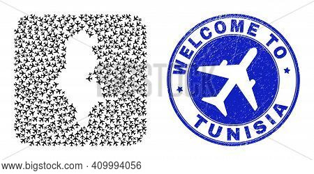 Vector Mosaic Tunisia Map Of Air Shipping Elements And Grunge Welcome Stamp. Mosaic Geographic Tunis