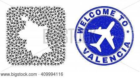 Vector Mosaic Valencia Province Map Of Transportation Elements And Grunge Welcome Badge. Mosaic Geog