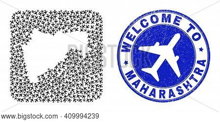 Vector Collage Maharashtra State Map Of Air Plane Items And Grunge Welcome Seal. Collage Geographic