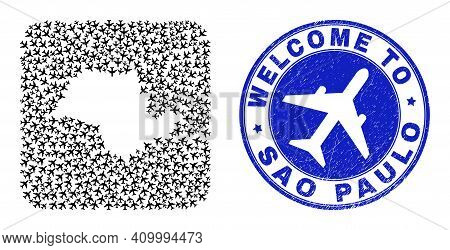 Vector Mosaic Sao Paulo State Map Of Air Flight Items And Grunge Welcome Seal. Mosaic Geographic Sao