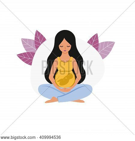 A Beautiful Pregnant Woman With A Large Belly And A Baby Is Sitting In The Lotus Position. Pregnancy
