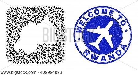 Vector Mosaic Rwanda Map Of Airline Elements And Grunge Welcome Seal. Mosaic Geographic Rwanda Map D