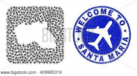 Vector Mosaic Santa Maria Island Map Of Air Vehicle Elements And Grunge Welcome Seal. Mosaic Geograp