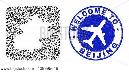 Vector Collage Beijing City Map Of Airways Elements And Grunge Welcome Stamp. Collage Geographic Bei