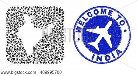 Vector Collage India Map Of Sky Jet Items And Grunge Welcome Stamp. Collage Geographic India Map Con