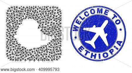 Vector Mosaic Ethiopia Map Of Aircraft Items And Grunge Welcome Badge. Mosaic Geographic Ethiopia Ma
