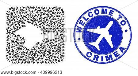 Vector Mosaic Crimea Map Of Airline Items And Grunge Welcome Stamp. Collage Geographic Crimea Map Co