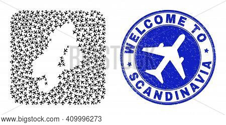 Vector Mosaic Scandinavia Map Of Airplane Elements And Grunge Welcome Seal Stamp. Collage Geographic