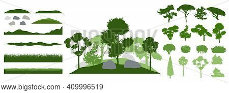Design Elements Of Decorative Tree, Collection. Constructor. Silhouettes Of Beautiful Decorative Tre