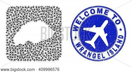 Vector Collage Wrangel Island Map Of Airline Elements And Grunge Welcome Seal. Collage Geographic Wr