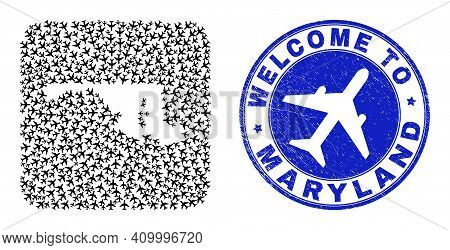 Vector Collage Maryland State Map Of Aircraft Items And Grunge Welcome Badge. Collage Geographic Mar