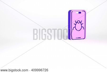 Purple System Bug On Mobile Icon Isolated On White Background. Code Bug Concept. Bug In The System.