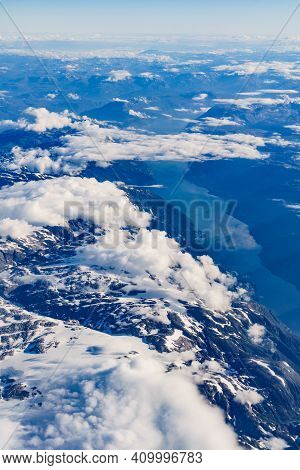View From Airplane To Fjords In Norway